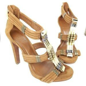 Tory Burch | Carla | metallic | suede | heels